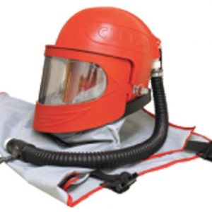 Safety helmet with mask, respirator hose & apron - Abrasive Blasting Safety Equipment | AIRPLUS Industries