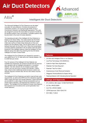 Axis AX Air Duct Detectors download brochure icon | AIRPLUS Industrial