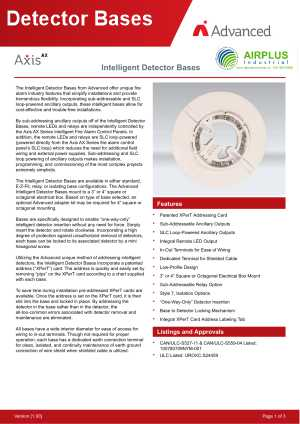 Axis AX Intelligent Dectector Bases download brochure icon | AIRPLUS Industrial
