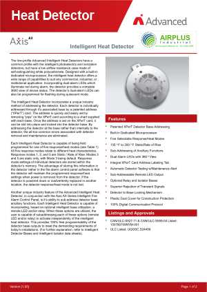 Axis AX Intelligent Heat Detector download brochure icon | AIRPLUS Industrial
