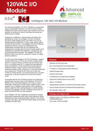 Intelligent 120VAC I/O Module download brochure icon | AIRPLUS Industrial