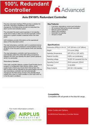 Axis AX 100% Redundant Controller Brochure Download Icon | AIRPLUS Industrial