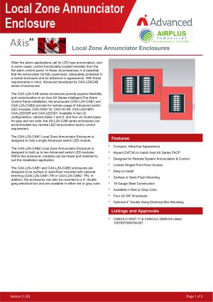 Axis AX Local Zone Annunciator Enclosures Brochure Download Icon | AIRPLUS Industrial