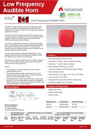 Axis AX Low frequency Audible Horn Brochure Download Icon | AIRPLUS Industrial