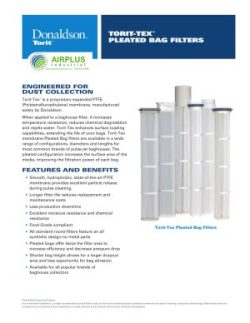 Donaldson PTFE Torit-Tex Specialty Pleated Bag Filter Datasheet Download icon   AIRPLUS Industrial