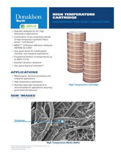 Donaldson High-Temperature Specialty Cartridge Filter brochure download icon | AIRPLUS Industrial