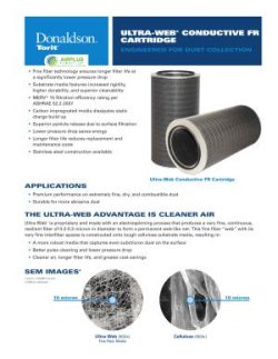 Donaldson Ultra-Web Conductive FR dust collector filter brochure download icon | AIRPLUS Industrial